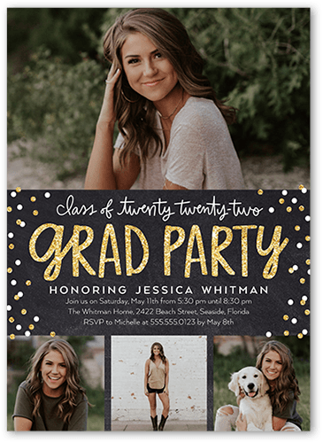 Bokeh Grad Party 5x7 Stationery Card By Stacy Claire Boyd