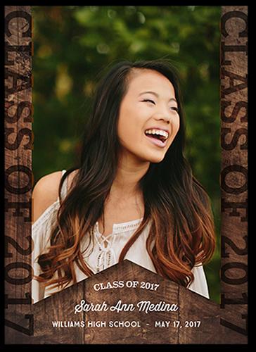 Wooden Grad Graduation Announcement