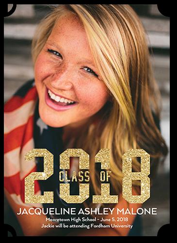 Gleaming Class Graduation Announcement, Ticket Corners