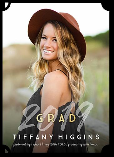 Stylish Grad Graduation Announcement, Ticket Corners