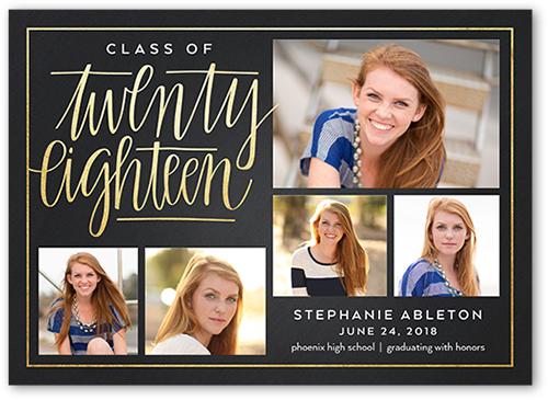 Classy Script Grad Graduation Announcement, Square Corners