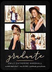 script graduate graduation announcement