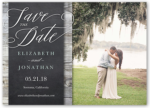 Wood Frame Save The Date, Square Corners