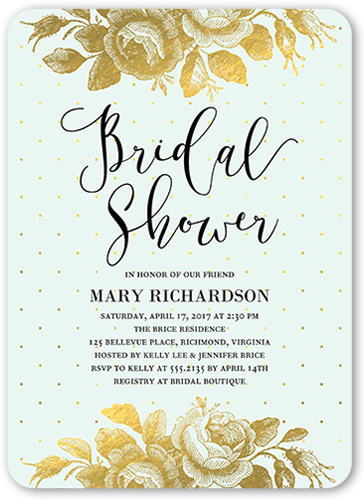 Gilded Bouquet Bridal Shower Invitation, Rounded Corners