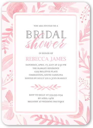 Painted Botanicals Bridal Shower Invitation, Rounded Corners