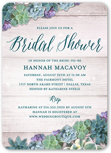 succulents bridal shower invitation visible part transiotion part front