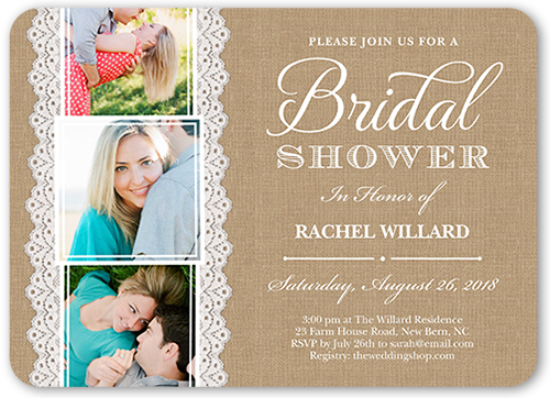 Lace And Burlap Bridal Shower Invitation, Rounded Corners