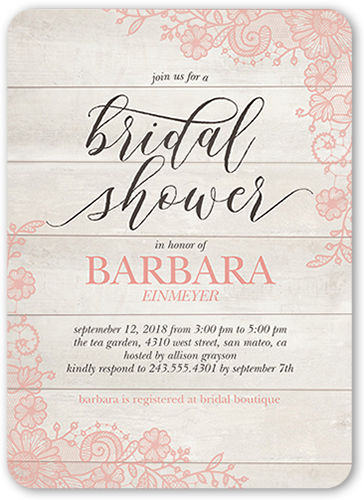 Lovely Lace Frame Bridal Shower Invitation, Rounded Corners