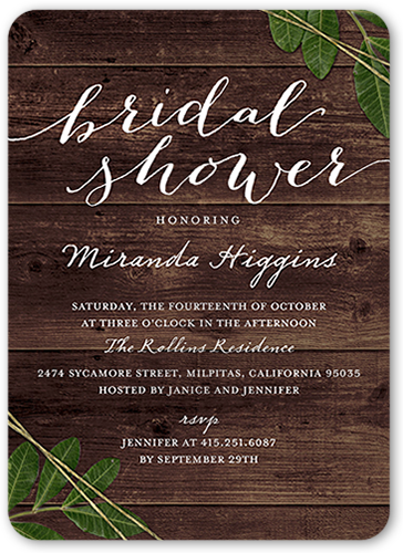 Stationery Bridal Shower Invitations