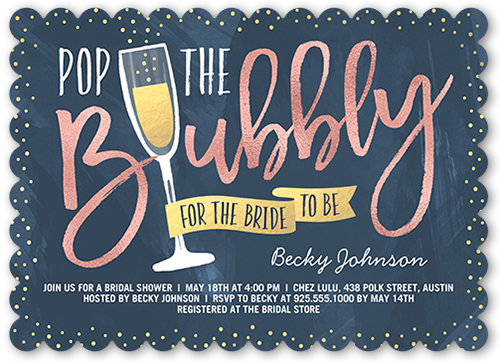 Pop The Bubbly Bridal Shower Invitation, Scallop Corners