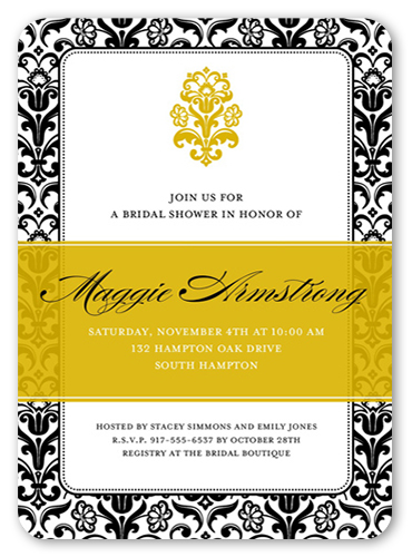 Sophisticated Damask Bridal Shower Invitation