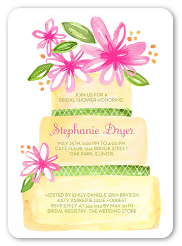 Wedding Cake Blooms Bridal Shower Invitation, Rounded Corners