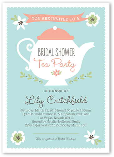 Teapot 5x7 Bridal Shower Invitations