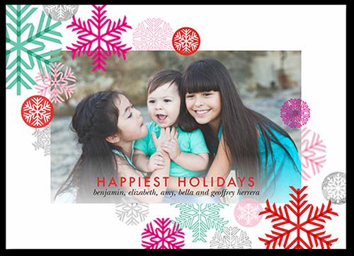 Joyful Flakes Holiday Card, Square Corners
