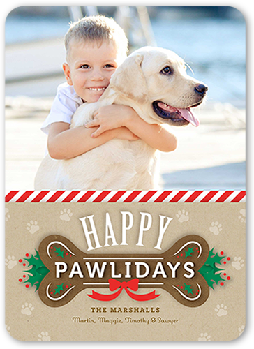Happiest Pawlidays Holiday Card, Rounded Corners