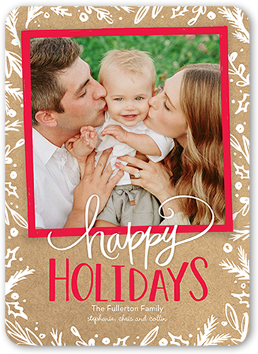 Festive Bordered Foliage Holiday Card