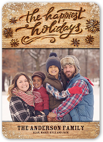 Happiest Wood Flurries Holiday Card