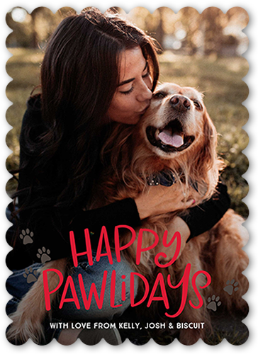 Happy Pawliday Holiday Card, Scallop Corners