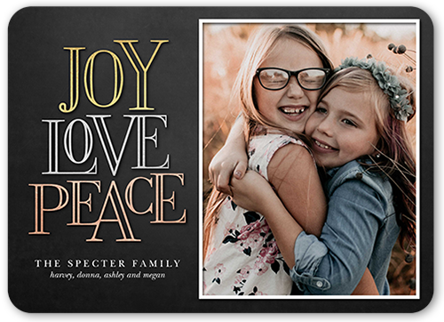 Simple Love And Joy Holiday Card, Rounded Corners