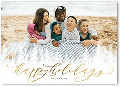 simple frosted trees holiday card