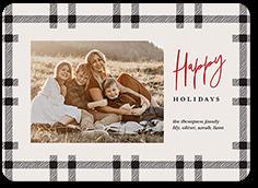 minimal plaid holiday card
