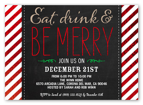 Be Merry Stripes 5x7 Holiday Party Invitations Shutterfly