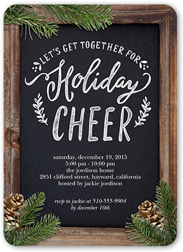 Pine Cone Picture Frame Holiday Invitation