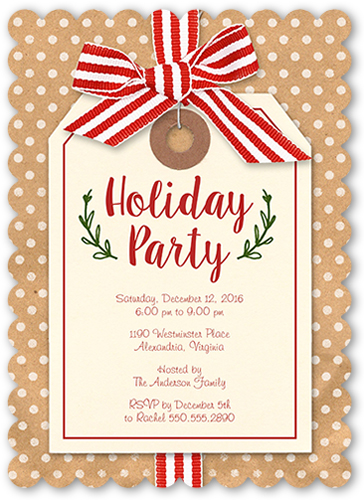 Striped Ribbon Tag Holiday Invitation