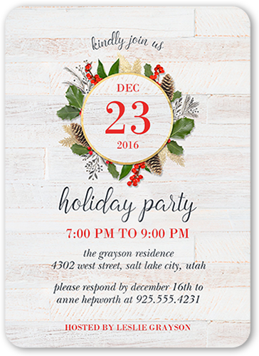 Winter Woodgrain Holiday Invitation