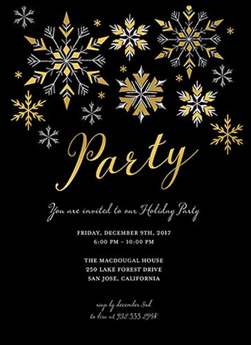 Gilded Snowflakes Holiday Invitation