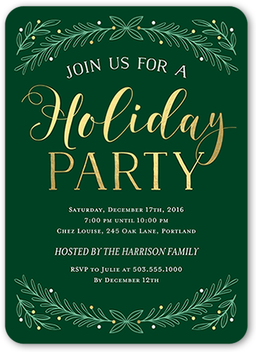 Arched Foliage Holiday Invitation