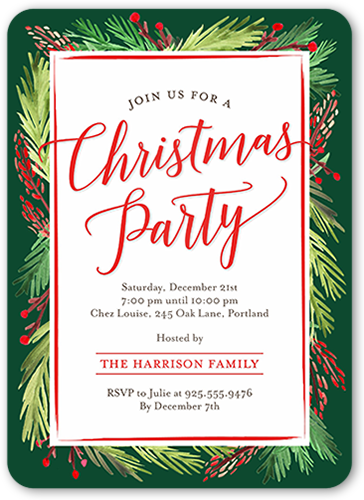Painted Foliage Holiday Invitation
