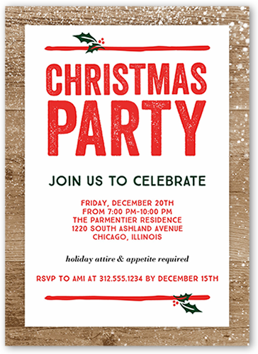 Festive Wooden Flurries Holiday Invitation, Square Corners