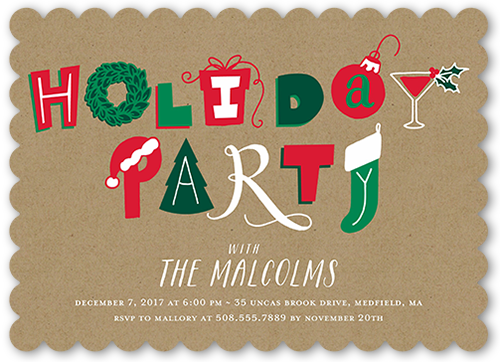 Festive Kraft Holiday Invitation, Scallop Corners