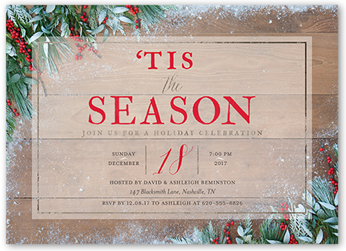 Frosted Foliage Holiday Invitation, Square