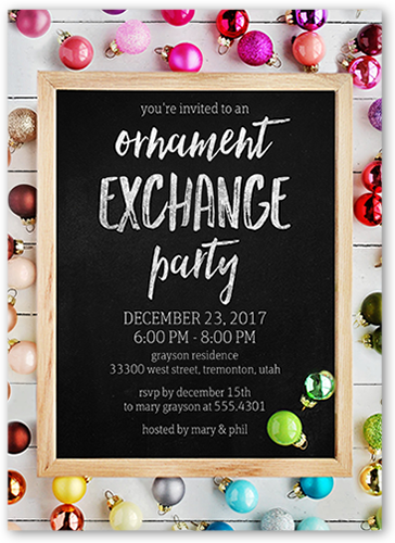 Wood Frame Ornaments Holiday Invitation, Square Corners