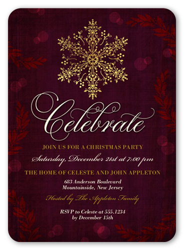 Enchanted Snowflake Holiday Invitation