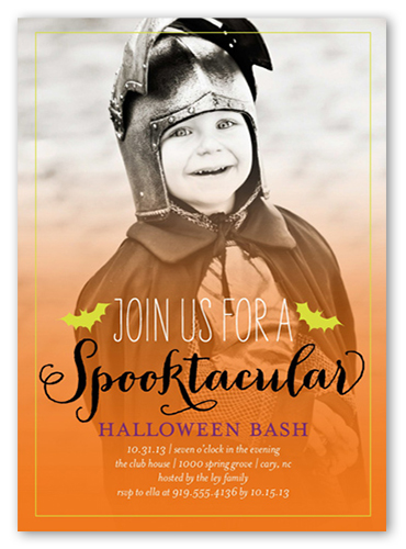 Batty Bash Halloween Invitation, Square Corners