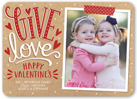 give hearts valentines card 5x7 flat