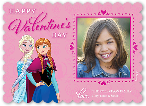 Disney Frozen Anna and Elsa Hearts Valentine's Card, Scallop Corners