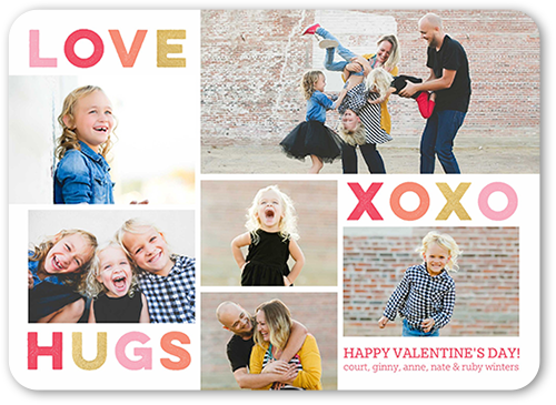 Love and Hugs Valentine's Card, Rounded Corners