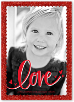 glitter and love valentines card 5x7 flat