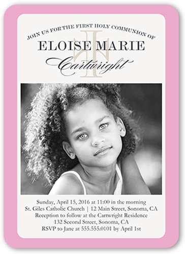 Elegant Moment Girl Communion Invitation by Yours Truly