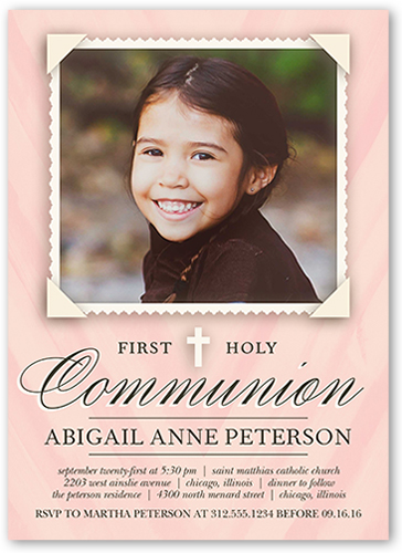 Holy Communion Girl Communion Invitation, Square