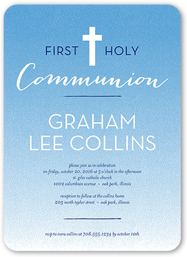 Clean Communion Boy Communion Invitation, Rounded Corners
