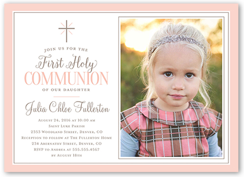 Faithfully Framed Girl Communion Invitation, Square