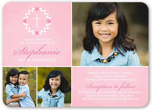 Simple Immersion Girl Communion Invitation, Rounded Corners