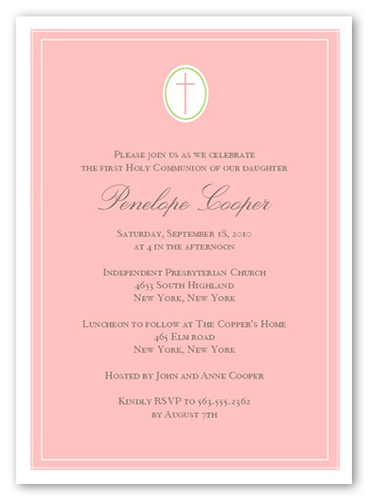 Communion Cross Pink Communion Invitation, Square