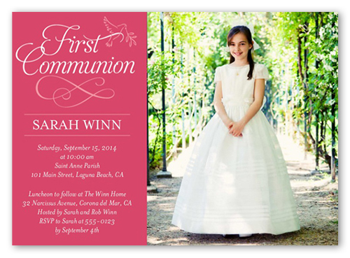 Timeless Script Girl Communion Invitation, Square Corners