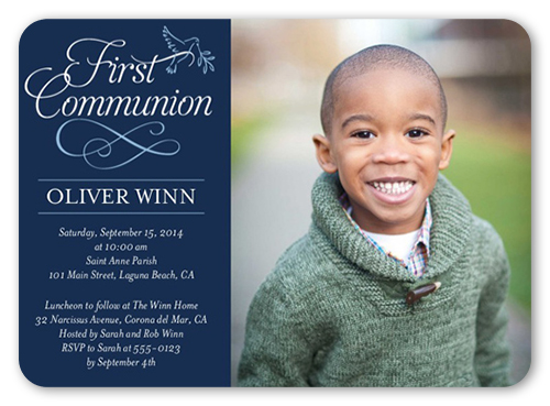 Timeless Script Boy Communion Invitation, Square